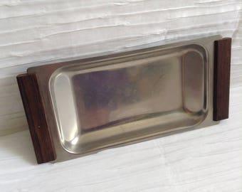 Teak Handled Stainless Steel Tray.  Marked Made in Denmark.  Vintage 1960. Modernist.   Mid century, Danish Modern, Eames era.