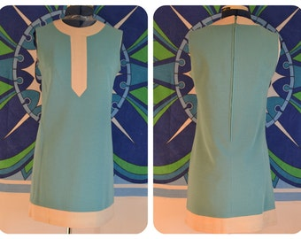 Vintage 1960s mod shift mini dress Twiggy Quant sleeveless swinging London go-go blue space-age