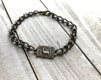 Men's Bracelet - Chain Bracelet -St Hubert Bracelet - Patron Saint of Hunters and for Conversion - Bronze Bracelet -  Made in USA