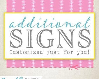 Additional Signs Add On - Sassaby Parties - Extra Party/Game Signs - Choose your Quantity - Custom Design