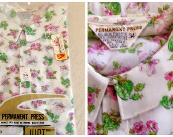Vintage 1960s Blouse Pink and Green Butterflies and Flowers Novelty Print Deadstock New in Package 37 Bust