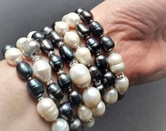 "STATEMENT NECKLACE / BRACELET: Outstanding 54"" long multi-color 10-15mm genuine baroque pearl strand, Swarovski elements"
