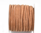 """1/8"""" Suede Leather Lace, TOAST, real leather by the yard, Realeather made in USA, 3mm wide, 25 yards, Lth0035"""