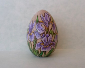 iris flower decorated Easter egg, wood egg, purple iris, flower egg, pyrography, wood burning art