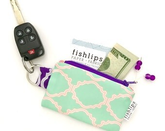 Mint Crest Recycled Key-chain Coin Purse, Coral Geometric Mini Zipper Pouch, Mint Business Card Case, Handmade Pouch, Modern Bridesmaid Gift