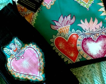 Sacred Heart & dish towel set, day of the dead, Mexican art