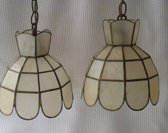 Capiz Shell Hanging Pendant Lamp, Double Pendant