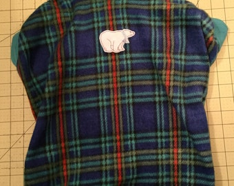 Teal Blue and Green Plaid with a Polar Bear Fleece Dog Sweater - Large