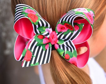 """Roses Bow -- Pocketful of Posies -- beautiful black, white, red and pink bow, choose 4"""". 5"""", or 6-7"""" bow"""