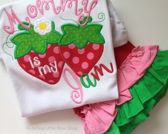 Strawberry shirt, tank top or bodysuit for girls - Mommy is my Jam - Strawberry theme Mother's Day shirt