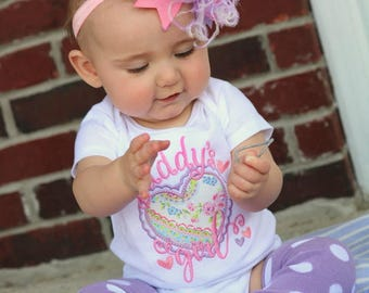 Baby Girl outfit, Daddy's Girl Outfit, Father's Day Outfit, bodysuit, leg warmers and Over The Top bow in pink and purple