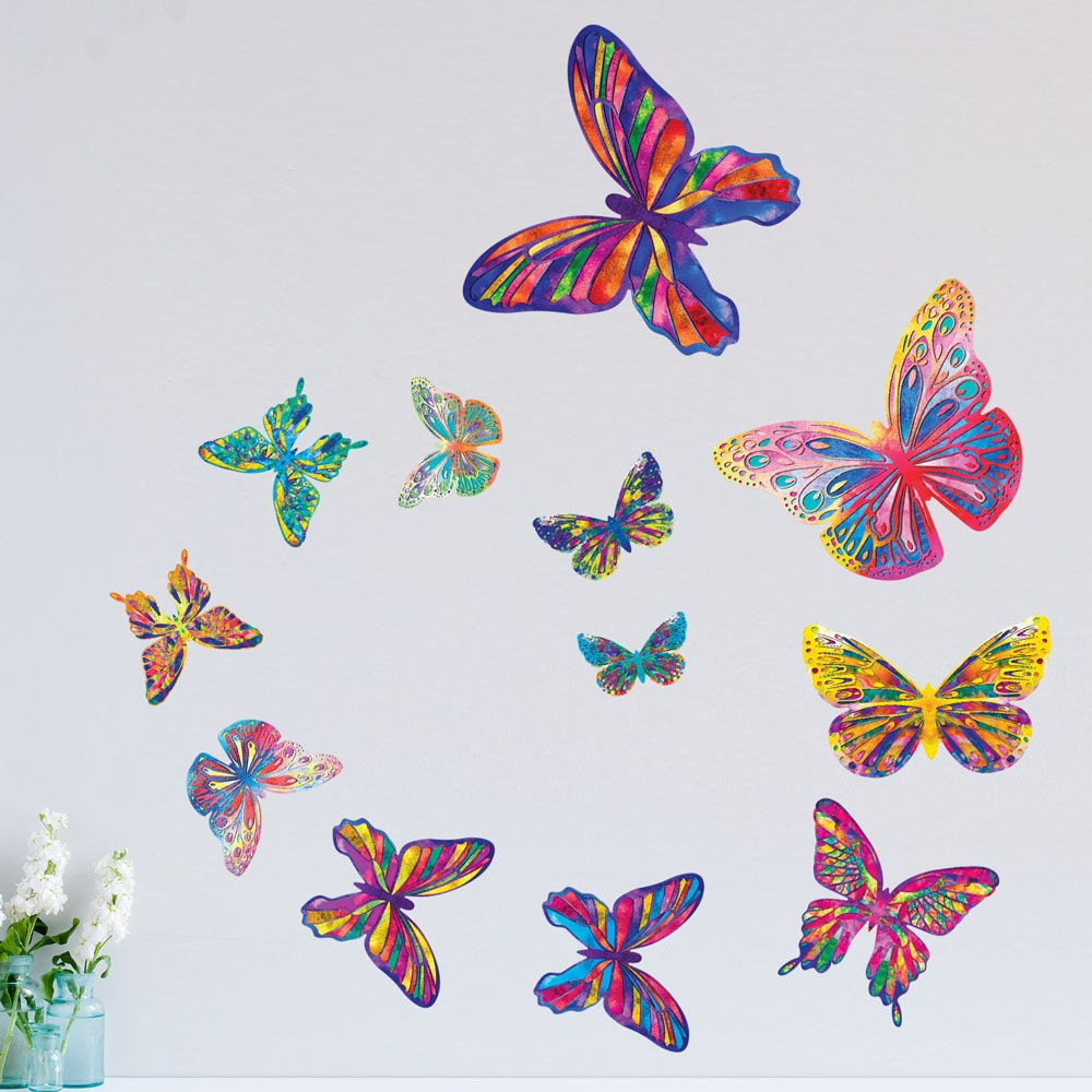 Watercolor Butterfly Wall Decals Easy Peel Amp Stick Colorful