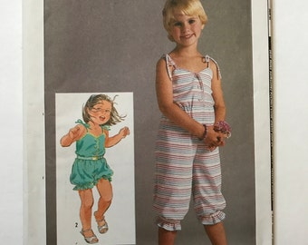 Girls Vintage Romper Pattern 80s Simplicity 6818 Girls Size 4,5,6