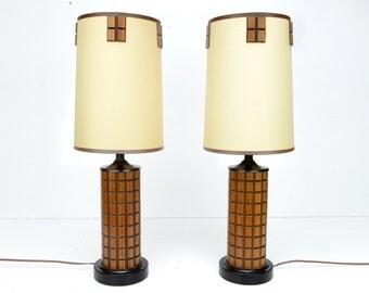 "Table lamps, teak, Mid Century, Danish Modern, pair, teak, 23"", retro, atomic, 1960s, vintage lamps"