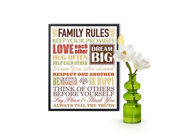INSTANT DOWNLOAD Family rules Print, Printable family art, birthday gift print, family rules poster, house rules sign, family rule art