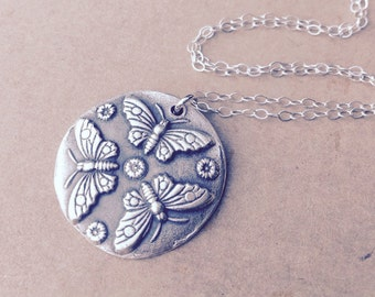 Butterfly wax seal pendant jewelry made from fine silver, custom made to order for Valentine's day
