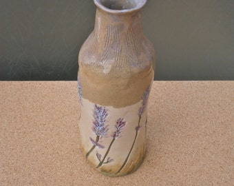 Lavender ceramic bottle - Botanical straight vase - Greige stoneware vase with lavender flowers
