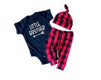 Little Brother Outfit - Buffalo plaid baby - Lumberjack baby outfit - Brother Coming Home Outfit -  Baby Brother Outfit - Newborn leggings