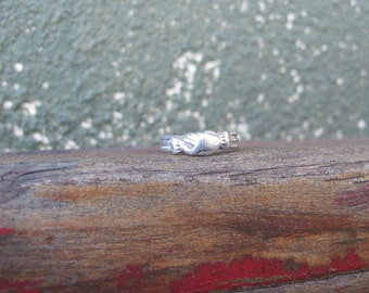 Antique Sterling Silver Fede Gimmel Ring in Small Size