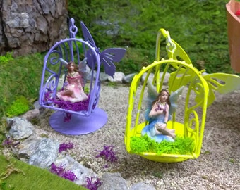 Butterfly Fairy Swing in Lavender or Yellow for Fairy Garden or Doll House Fun
