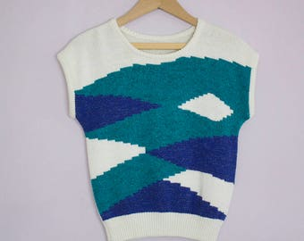 Vintage 1980's Teal Blue Knit Sweater Top S/M