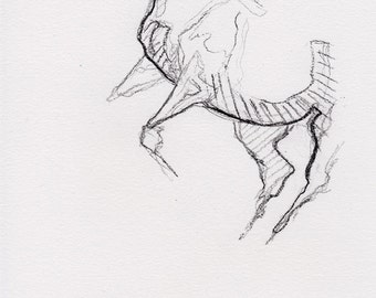 Black chalk Horse Original Drawing on Paper, Contemporary Art, Modern Art, Expressive Art, Animal, Study, Quick Sketch, Equine Art