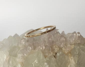 gold stacking ring, notched hammered 14k 14k yellow rose white wedding band, simple thin hand carved ethical recycled