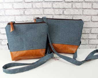 BRI  Messenger Bag -2 Sizes - Blue  Denim - READY to SHIP  Adjustable messenger Zipper Purse