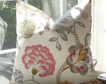 Jacobean Floral Designer Throw Pillow Cover, Duralee Summer, Grey, Green, Red, Floral Cushion Cover