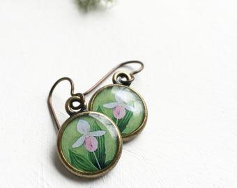 Pink Ladyslipper Earrings, Spring Flower, Botanical Jewelry, Fairy Flower Earrings, Orchid Earrings, Ladyslipper Art, Green Jewelry