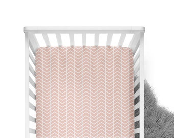Fitted Crib Sheet Blush Chevron - Blush Crib Sheet- Pink Crib Sheet- Pink Baby Bedding- Blush Crib Bedding- Girl Baby Bedding- Chevron Sheet