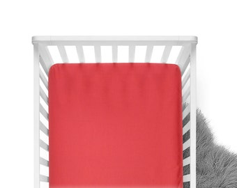 Fitted Crib Sheet - Coral - Solid Crib Sheet - Flat Crib Sheet - Crib Sheet - Toddler Sheet - Baby Sheet -Solid Coral Fitted Sheet-Bedding