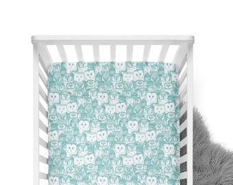 Fitted Crib Sheet Teal Owls - Owl Crib Sheet - Teal Crib Sheet -Teal Crib Bedding - Woodland Crib Sheet - Minky Crib Sheet - Organic Sheet
