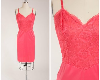 Vintage 1950s Slip • Pink Passions • Bright Pink 50s Nylon and Lace Slip Size Medium