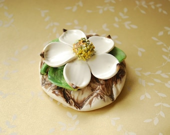 Vintage Fable Vancouver Art Pottery Dogwood Flower Figurine - Display Piece - 1970's