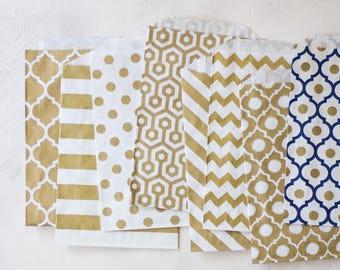Gold Metallic White Kraft Large Bags - 20 pc - Casablanca / Horizontal Stripe / Polka Dot / Honeycomb / Diagonal Stripe / Chevron / Ikat