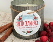 Spiced Cranberry Soy Wax Candle in 12 oz. Zinc Tin - Candle for Home, Gift, Housewarming, Hostess, Birthday, Present, Holidays, Christmas