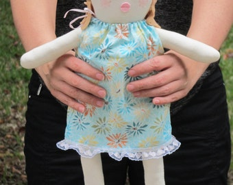 Rag doll, cloth doll for little girls, child friendly softie plushie doll, stuffed doll, fabric doll in blue dress baby shower birthday gift
