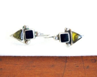 Mexican Dangle Earrings Vintage Green and Black Resin Sterling Silver Geometric Drop Dangles