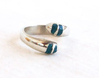 Blue Stone Wrap Ring Mexican Sterling Silver Bypass Size 7 .5  Modern Striped Ring Statement Jewelry