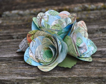 Map Paper Rose Cake Topper. 4,6, or 8 Inch.  CHOOSE YOUR MAPS!  Custom Orders Welcome.