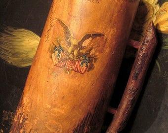 Antique Wood Tankard Americana Souvenir