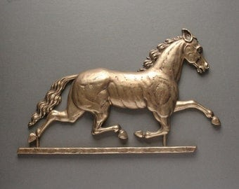 Running horse plaque, horse wall plaque, gold running horse, 1960's decor