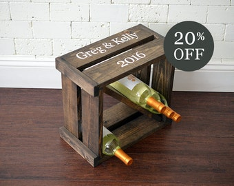 20% OFF SALE - Wine Rack - Wine Cube - Wine Storage - Wine Holder - Wedding gift - Personalized Wine Rack - Family Name - Crate