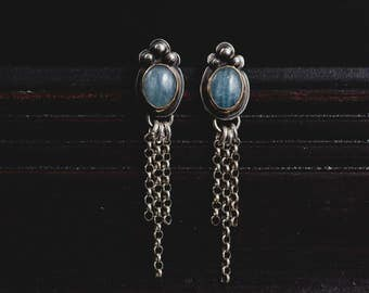 Sterling Silver Aquamarine Fringe Earrings- March Birthstone Chandelier Earrings-Bohemian Style Jewellery