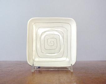 Mid Century LaGardo Tackett Studio Pottery Saucer / Dish Incised Pattern Square
