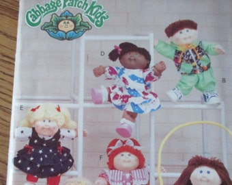 Vintage uncut Cabbage Patch Kids Butterick 178 girl and boy clothes spring jacket skirt  romper jumpsuit leggings outfits doll  pattern