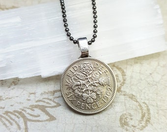 Coin Jewelry - English Irish Scottish Welsh COIN NECKLACE - vintage six pence - Tudor rose - Irish clover - Scottish thistle - Welsh leek