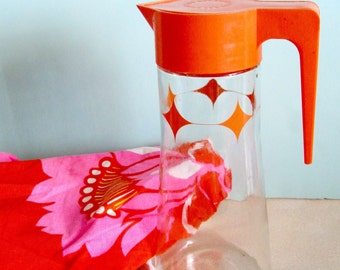 Vintage Tang Juice pitcher Orange diamond pattern 1970 breakfast server Anchor hocking Pyrex Collection Atomic starburst summer entertaining