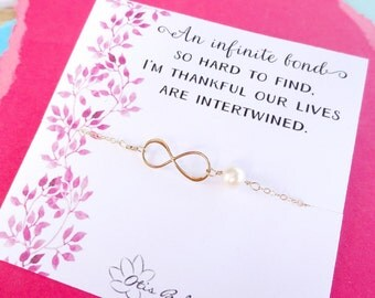 Infinity bracelet with sentimental message card, pearl bracelet for friends, friendship, sisters, sister in law, cousins, bridesmaid gift